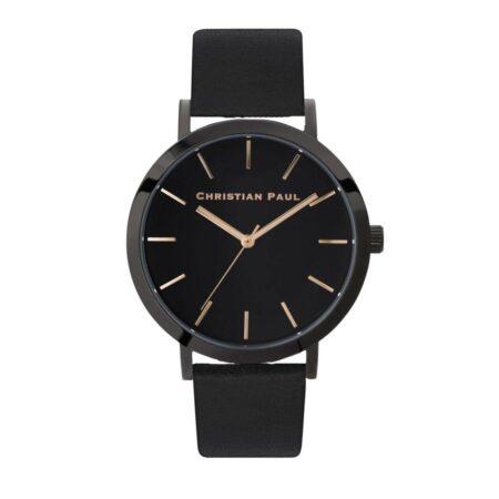 """שעון לנשים/גברים """"מון לייט"""" בצבע שחור עם רקע שחור ורצועה מעור בצבע שחור 43מ""""מ"""