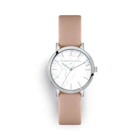"""שעון לנשים """"איירלי"""" בצבע כסף עם רקע שיש ורצועה מעור בצבע ורוד כהה"""