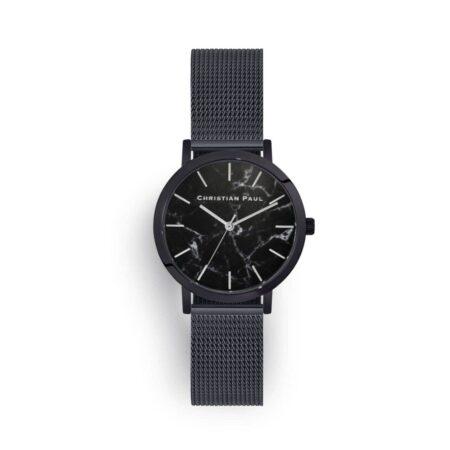 """שעון לנשים """"סטרנד רשת"""" בצבע שחור עם רקע שיש ורצועת רשת בצבע שחור"""