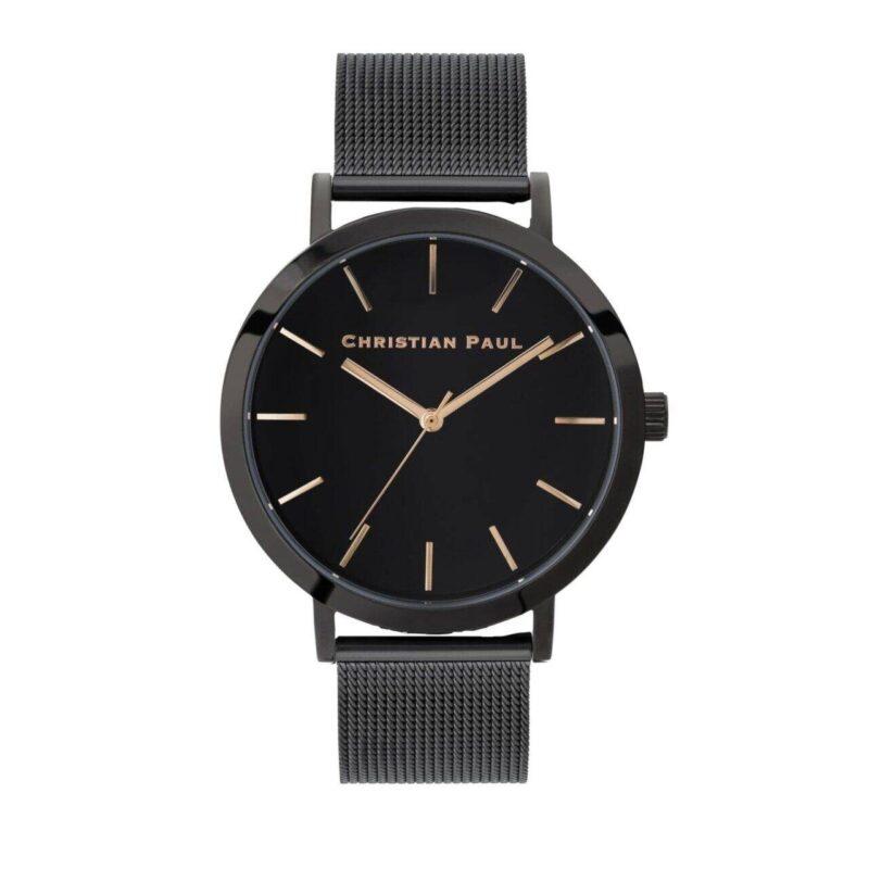 """שעון לנשים/גברים """"מון לייט"""" בצבע שחור עם רקע שחור ורצועת רשת בצבע שחור 43מ""""מ"""