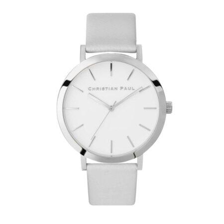 """שעון לנשים """"דילריי"""" בצבע כסף עם רקע לבן ורצועה מעור בצבע אפור"""