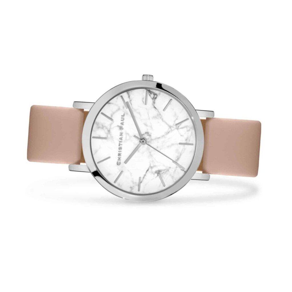 אירליי שעון לנשים שעון מיוחד לנשים בצבע כסף עם רקע לבן וייחודי בטקסטורת שיש. מחוגים בצבע כסף,
