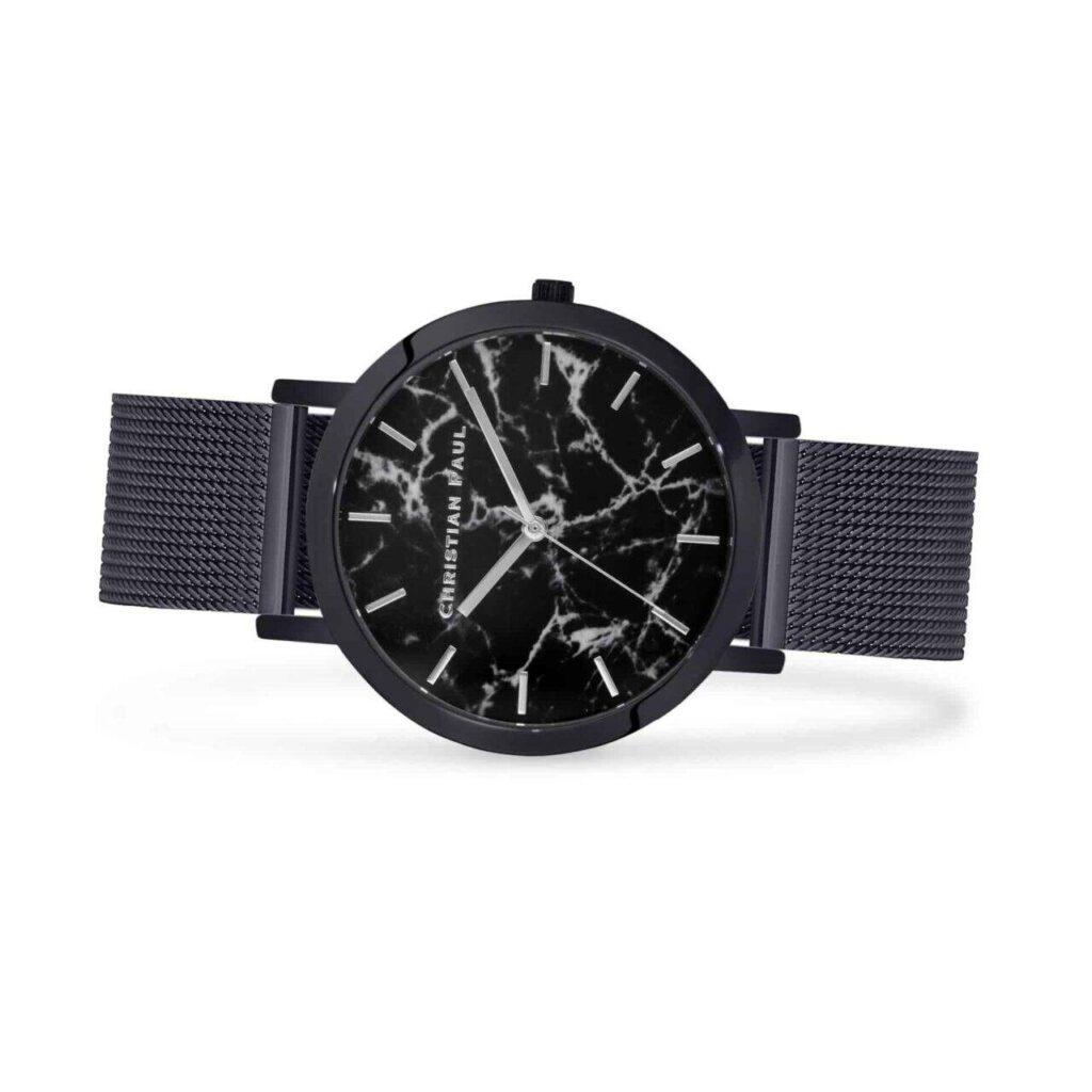 """סטרנד רשת שעון לגבר שעון מיוחד לגבר עם רקע שחור וייחודי בטקסטורת שיש בקוטר 43 מ""""מ. רצועת רשת איכותית הניתנת להחלפה, בכדי להתאים לכל סגנון."""