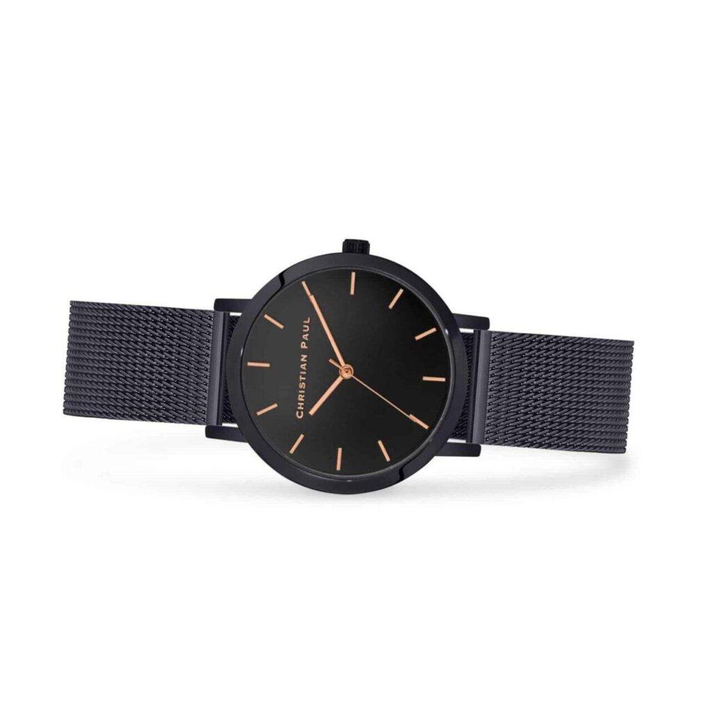 """שעון לנשים מון לייט בצבע שחור עם רקע שחור ורצועת רשת בצבע שחור 35מ""""מ"""