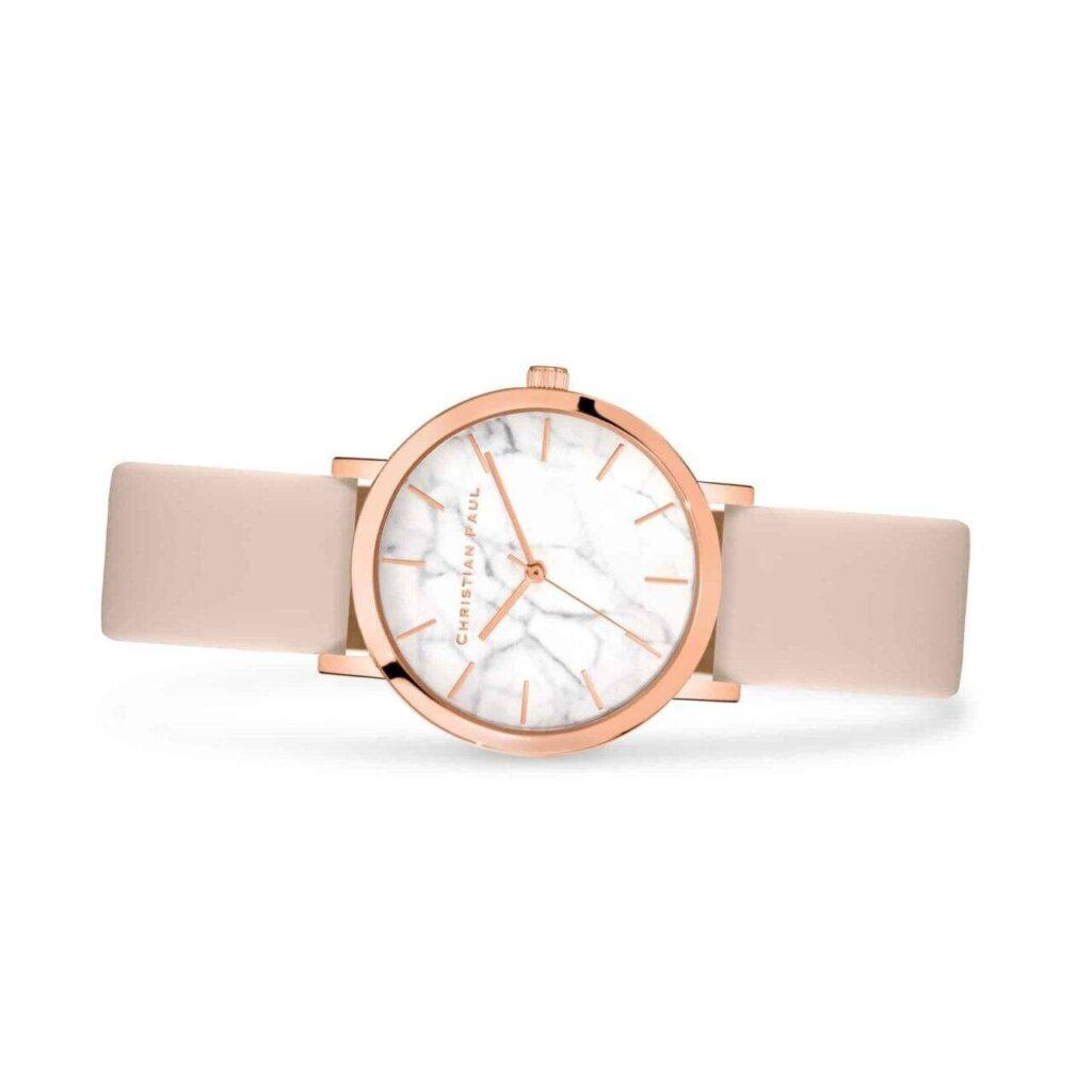 """בונדי שעון לנשים במידה 35מ""""מ שעון מיוחד לנשים בצבע זהב ורוד עם רקע לבן בטקסטורת שיש. מחוגים בצבע זהב ורוד, רצועה מעור איטלקי משובח בצבע ורוד הניתנת להחלפה."""
