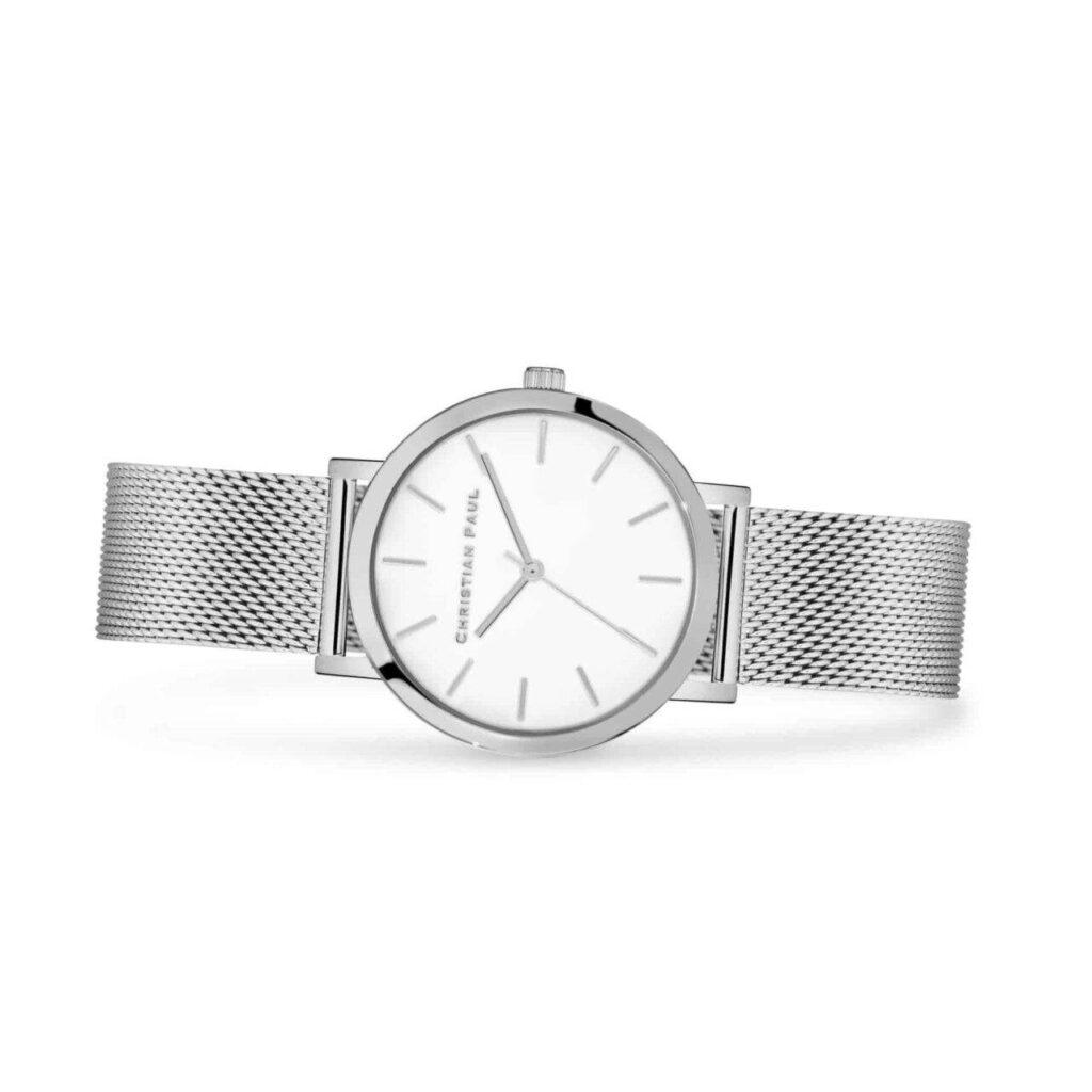 """סילבר רשת שעון לגבר שעון מיוחד לגבר בצבע כסף עם רקע לבן קלאסי בקוטר 35 מ""""מ"""