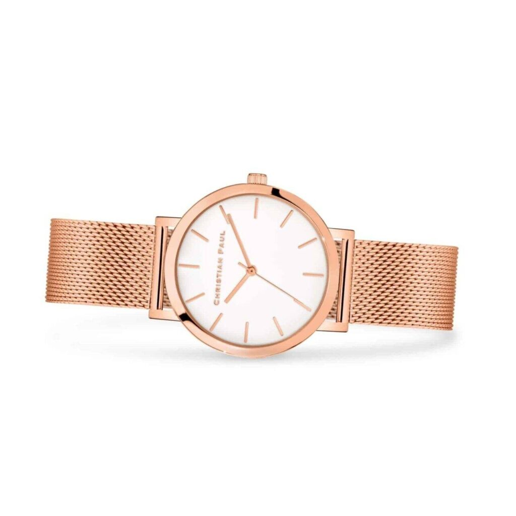 שעון לנשים סאנשיין בצבע רוז גולד עם רקע לבן ורצועת רשת רוז גולד