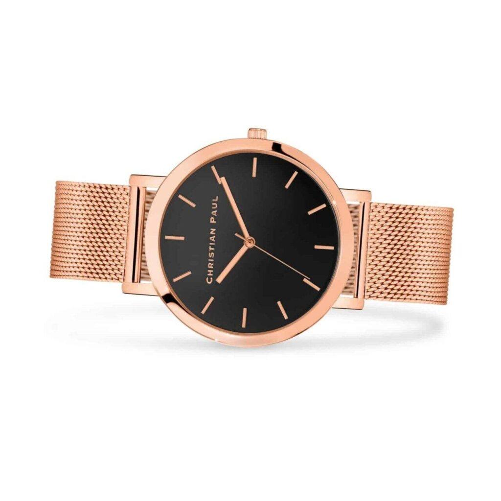 """רוז רשת שעון לנשים במידה 43מ""""מ שעון מיוחד לנשים בצבע זהב ורוד עם רקע שחור ומחוגים בצבע זהב ורוד בסגנון קלאסי"""