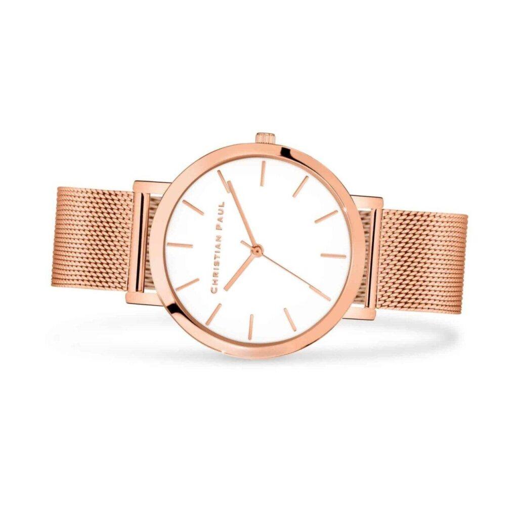 """שעון לנשים סאנשיין במידה 43מ""""מ בצבע רוז גולד עם רקע לבן ורצועת רשת רוז גולד"""