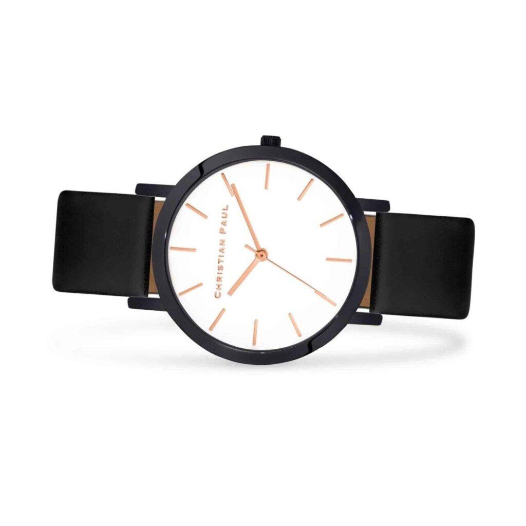 """מון ווייט שעון יוניסקס שעון מיוחד לנשים וגברים בצבע שחור עם רקע לבן קלאסי ומחוגים בזהב ורוד בקוטר 43מ""""מ"""