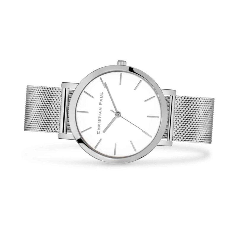 """סילבר רשת שעון לגבר שעון מיוחד לגבר בצבע כסף עם רקע לבן קלאסי בקוטר 43 מ""""מ."""