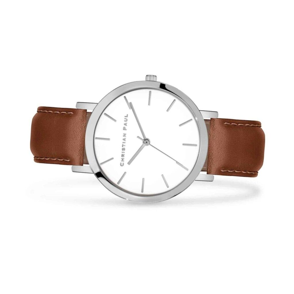 """סילבר טאן שעון לנשים שעון מיוחד לגבר בצבע כסף עם רקע לבן קלאסי ומחוגים בכסף בקוטר 43 מ""""מ"""
