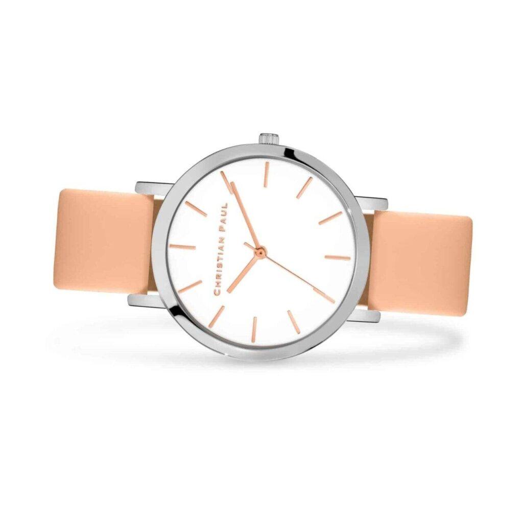 """אלביון שעון לנשים שעון מיוחד לנשים בצבע כסף עם רקע לבן ומחוגים בצבע זהב ורוד בסגנון קלאסי בקוטר 43מ""""מ"""