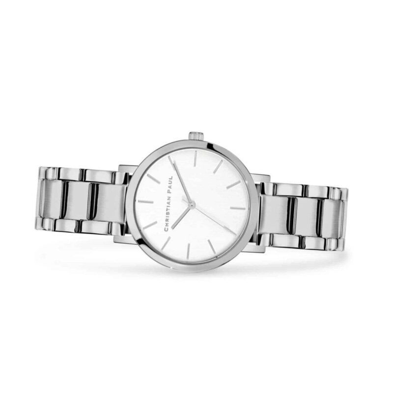 """סידני שעון לנשים במידה 35מ""""מ שעון מיוחד לנשים בצבע כסף עם רקע לבן קלאסי ומחוגים בכסף."""