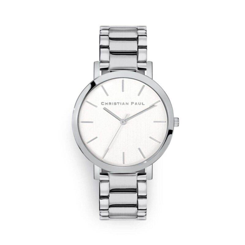 """שעון לנשים/גברים """"סידני"""" בצבע כסף עם רקע לבן ורצועת חוליות כסף 43מ""""מ"""