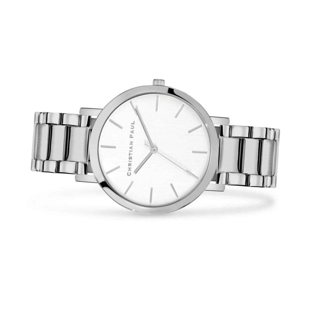 """סידני שעון לנשים במידה 43מ""""מ שעון מיוחד לנשים בצבע כסף עם רקע לבן קלאסי ומחוגים בכסף."""