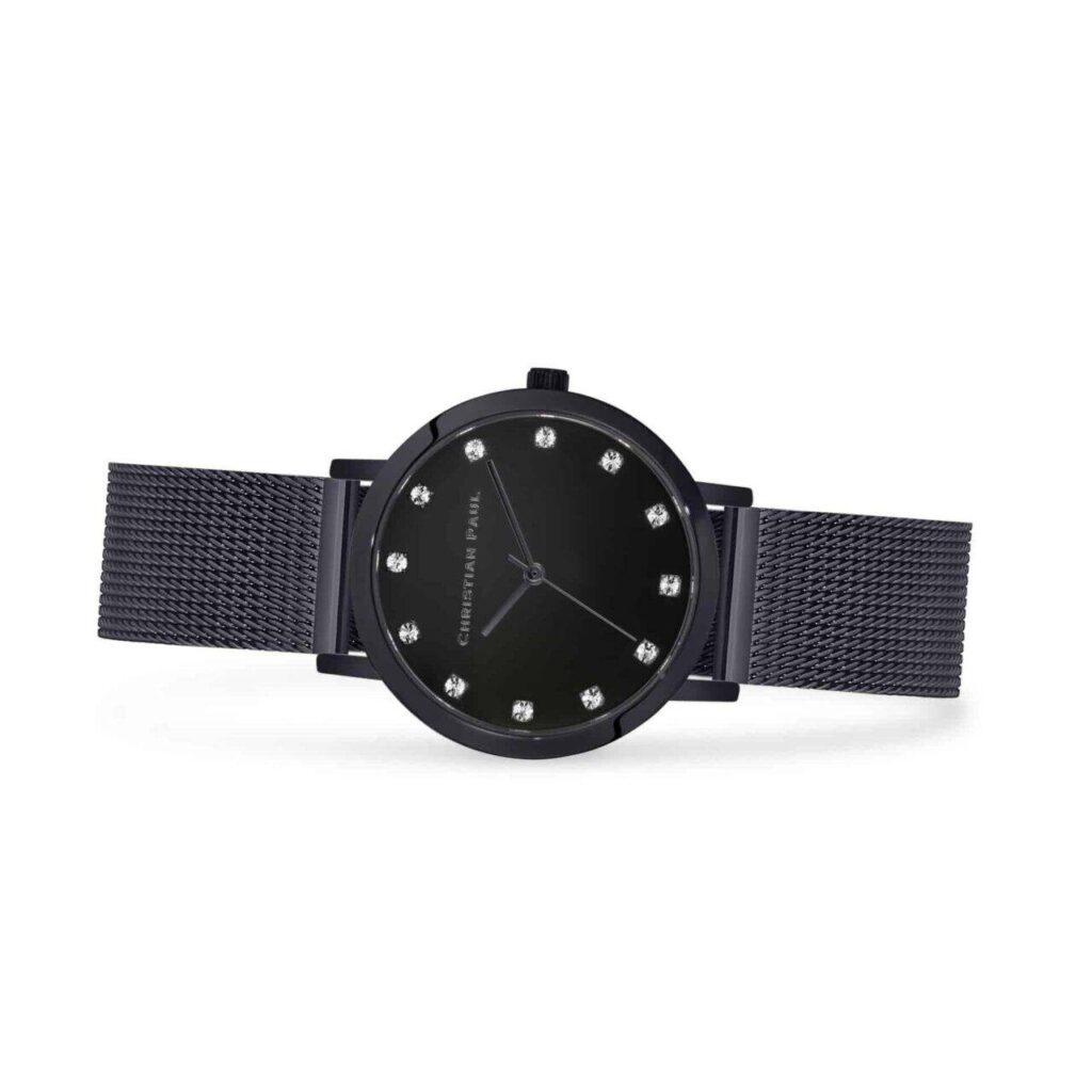 """נייט שעון לנשים במידה 35מ""""מ שעון יוקרתי לנשים בצבע שחור עם רקע שחור קלאסי משובץ יהלומים."""
