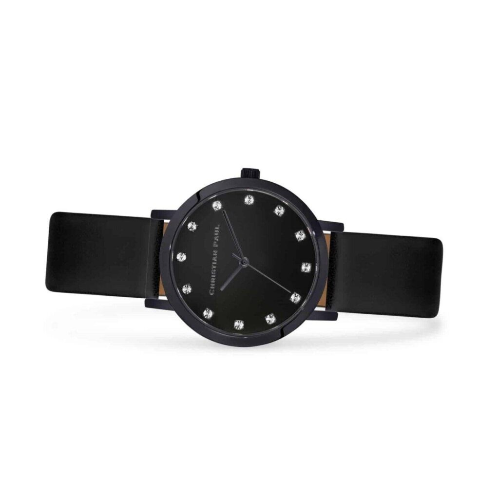 """נייט שעון לנשים במידה 35מ""""מ שעון יוקרתי לנשים בצבע שחור עם רקע שחור קלאסי משובץ יהלומים"""