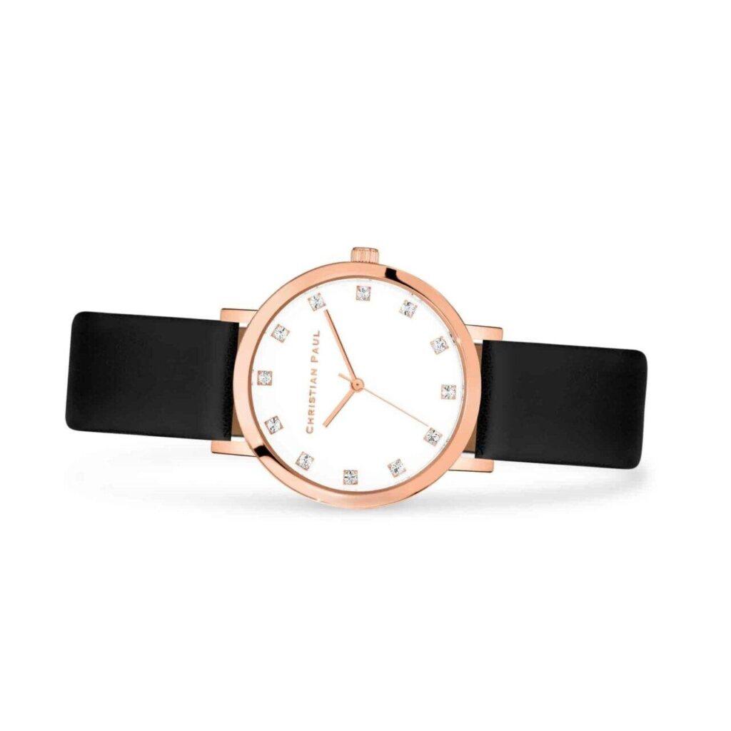 """אנג'ל שעון לנשים שעון יוקרתי לנשים במידה 35מ""""מ בצבע זהב ורוד עם רקע לבן קלאסי משובץ יהלומים"""