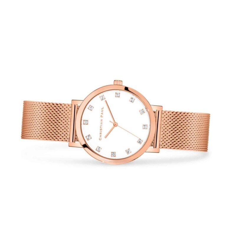 """אנג'ל רשת שעון לנשים במידה 35מ""""מ שעון יוקרתי לנשים עם רקע לבן קלאסי משובץ יהלומים."""