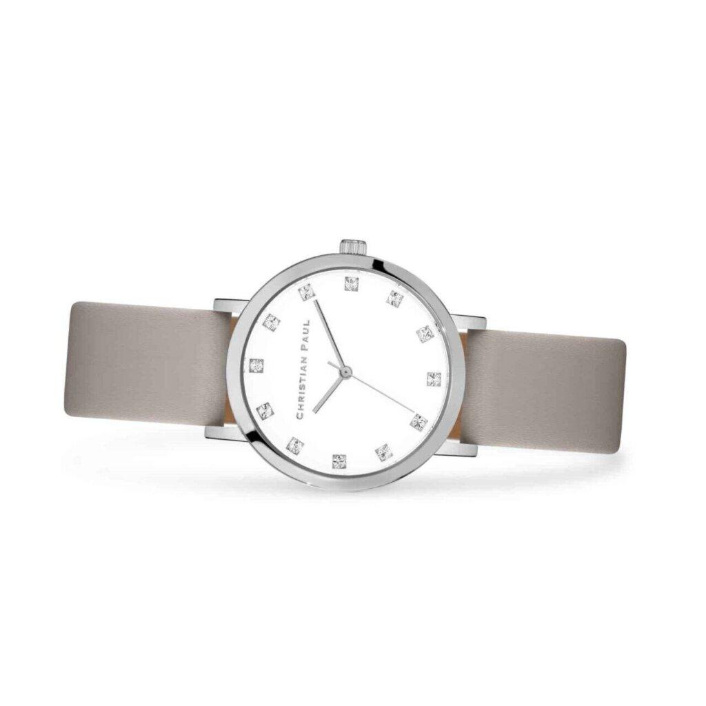"""אלווד שעון לנשים במידה 35מ""""מ שעון יוקרתי לנשים בצבע כסף עם רקע לבן קלאסי משובץ יהלומים"""