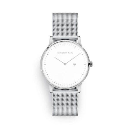 """שעון לנשים/גברים """"קלאודיה"""" בצבע כסף עם רקע לבן ורצועת רשת בצבע כסף"""