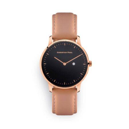 """שעון לנשים """"טמשין"""" עם רקע שחור ורצועה מעור תפרים בצבע ורוד כהה"""