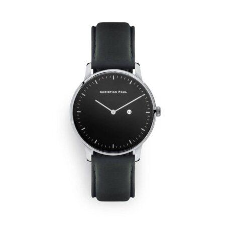 """שעון לנשים/גברים """"מאיה"""" בצבע כסף עם רקע שחור ורצועה מעור תפרים בצבע אפור כהה"""