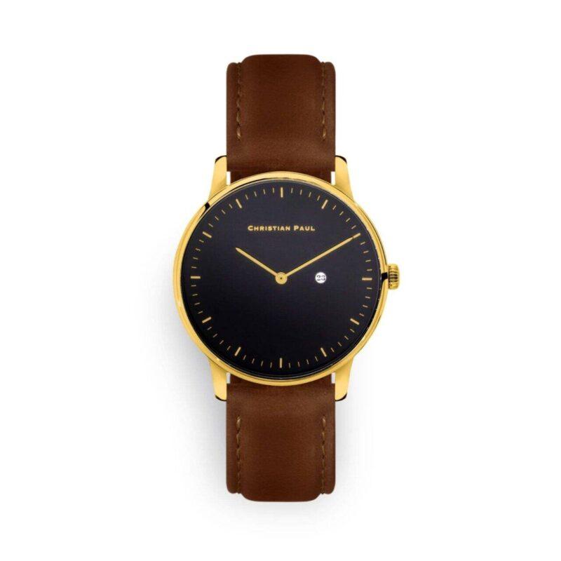 """שעון לנשים/גברים """"לקסי"""" בצבע זהב עם רקע שחור ורצועה מעור תפרים בצבע חום"""