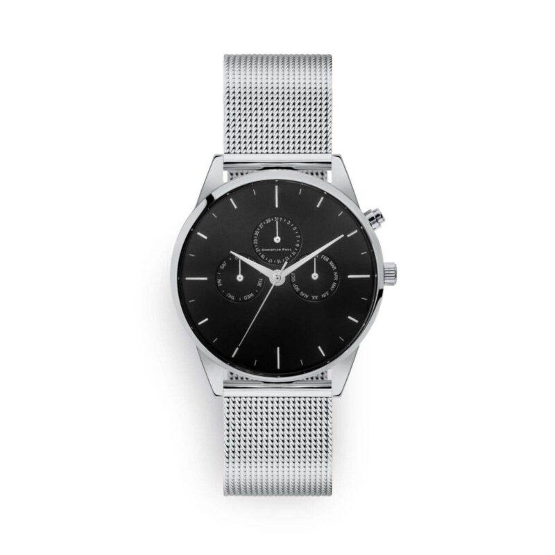 """שעון לנשים/גברים """"יוניטי"""" בצבע כסף עם רקע שחור ורצועת רשת בצבע כסף"""