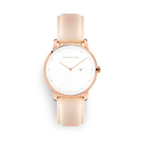 """שעון לנשים """"ג'ולייט"""" בצבע רוז גולד עם רקע לבן ורצועה מעור תפרים בצבע ורוד בהיר"""