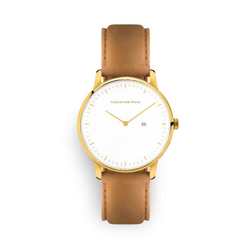 """שעון לנשים/גברים """"ביאטריקס"""" בצבע זהב עם רקע לבן ורצועה מעור תפרים בצבע חום"""