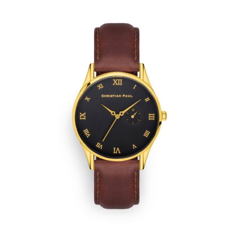 """שעון לגבר """"צ'ארלס"""" בצבע זהב עם רקע שחור ורצועה מעור תפרים בצבע חום"""