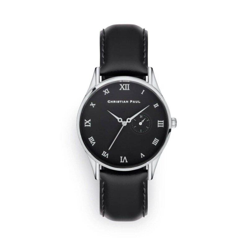 """שעון לגבר """"בנדיקט"""" בצבע כסף עם רקע שחור ורצועה מעור תפרים בצבע שחור"""