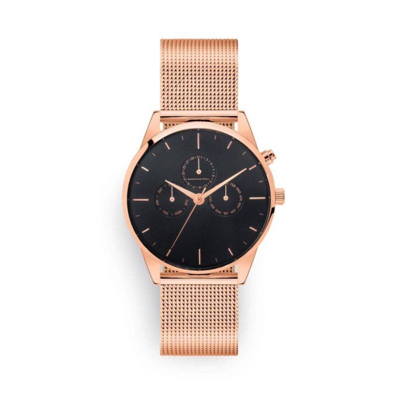 """שעון לנשים/גברים """"יוניטי"""" בצבע רוז גולד עם רקע שחור ורצועת רשת בצבע רוז גולד"""
