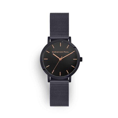 """שעון לנשים/גברים """"מון לייט"""" בצבע שחור עם רקע שחור ורצועת רשת בצבע שחור 35מ""""מ"""
