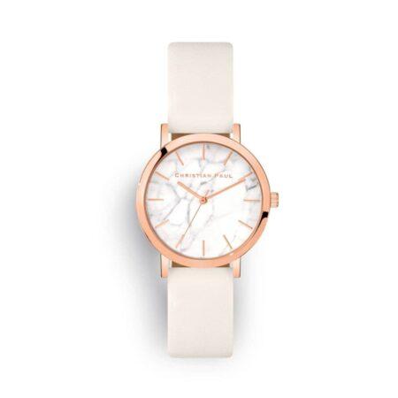 """שעון לנשים """"וויטהייבן"""" בצבע רוז גולד עם רקע שיש ורצועה מעור בצבע לבן"""