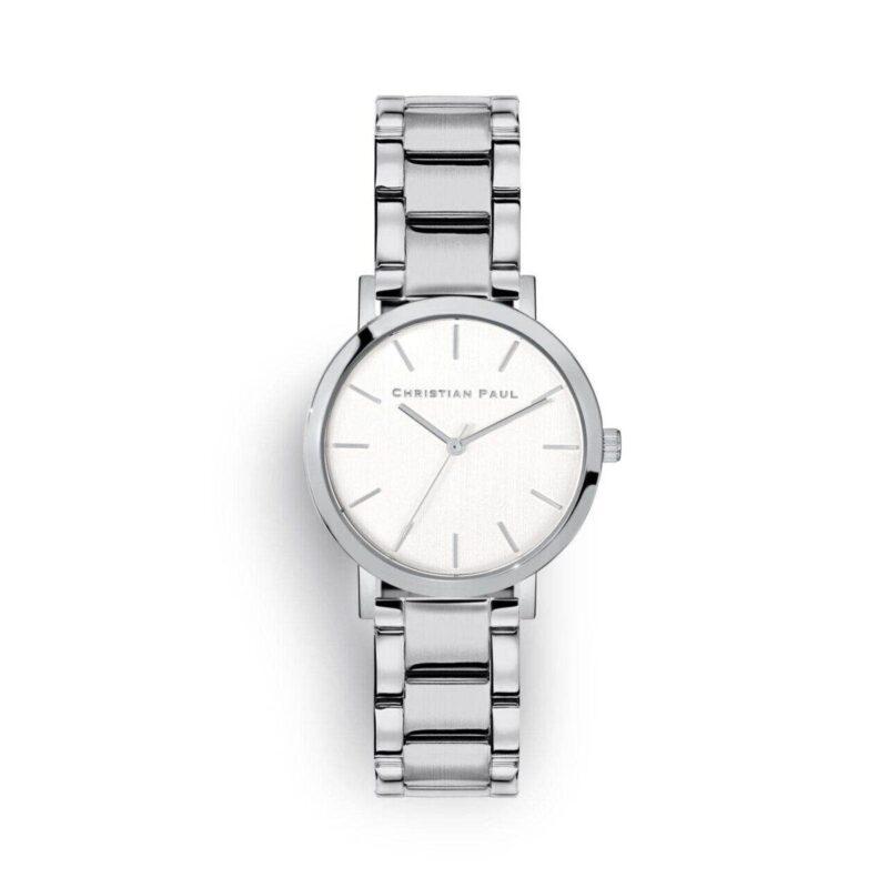 סידני שעון לנשים שעון מיוחד לנשים בצבע כסף עם רקע לבן קלאסי ומחוגים בכסף
