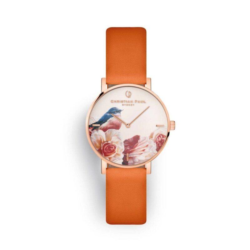 """שעון לנשים """"פינק רובין"""" בצבע רוז גולד עם רקע פריחת וציפור אדום החזה, רצועה מעור ז'מש בצבע כתום מנדרין"""