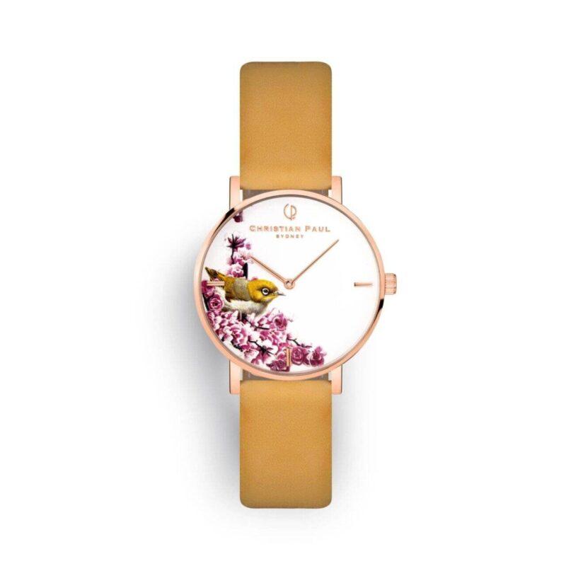 """שעון לנשים """"סילבר איי"""" בצבע רוז גולד עם רקע פריחת דובדבן וציפור עין הכסף, רצועה מעור ז'מש בצבע צהוב חרדל"""