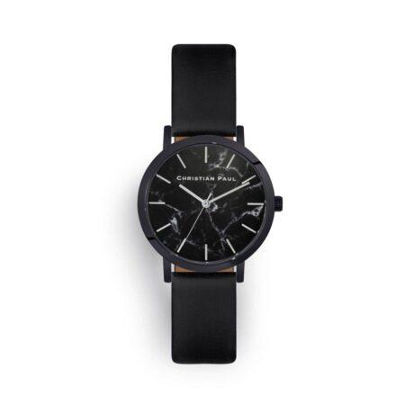"""שעון לנשים """"סטרנד"""" בצבע שחור עם רקע שיש ורצועה מעור בצבע שחור"""