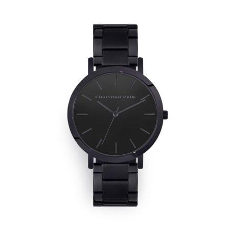 """שעון לגבר """"מלבורן"""" בצבע שחור עם רקע שחור ורצועת חוליות בצבע שחור 43מ""""מ"""