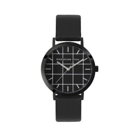 """שעון לנשים """"גריד סטרנד"""" בצבע שחור עם רקע שחור משבצות ורצועה מעור בצבע שחור"""