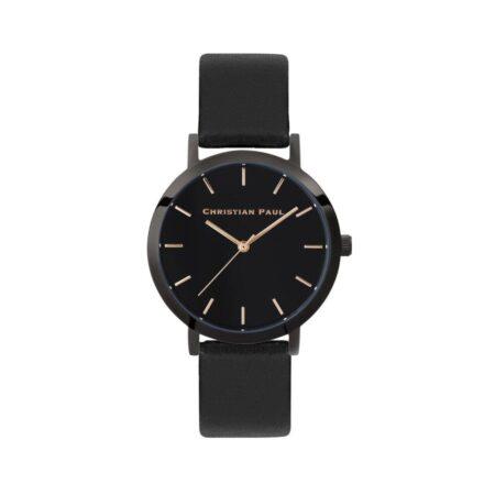 """שעון לנשים """"מון לייט"""" בצבע שחור עם רקע שחור ורצועה מעור בצבע שחור 35מ""""מ"""