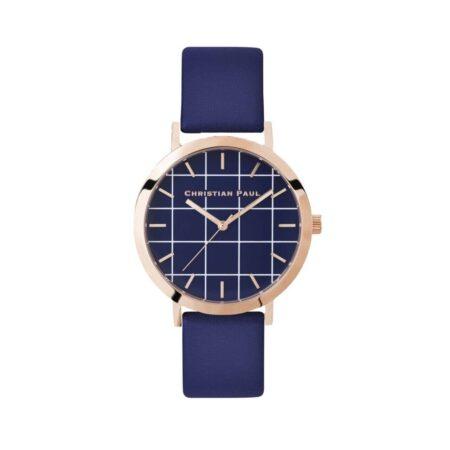 """שעון לנשים """"גריד בלמורל"""" בצבע רוז גולד עם רקע כחול משבצות ורצועה מעור בצבע כחול"""