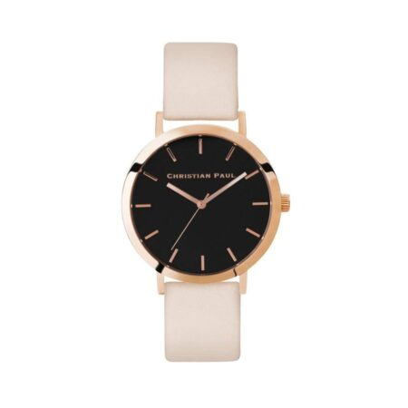 """שעון לנשים """"רוז פיץ'"""" בצבע רוז גולד עם רקע שחור ורצועה מעור בצבע ורוד 35מ""""מ"""