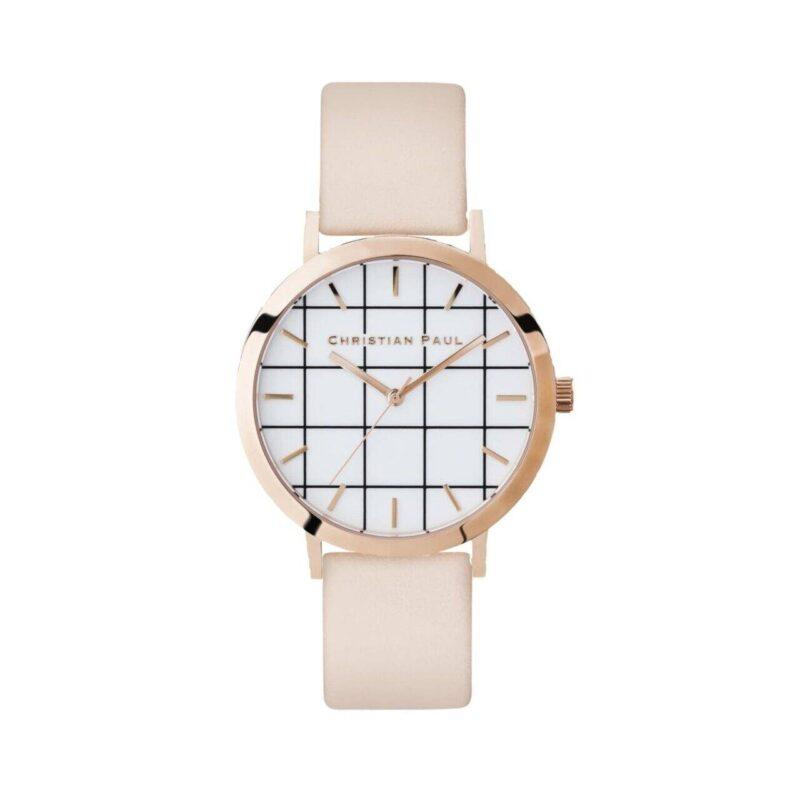 """שעון לנשים """"גריד בונדי"""" בצבע רוז גולד עם רקע לבן משבצות ורצועה מעור בצבע ורוד בהיר"""