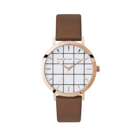 """שעון לנשים """"גריד אבלון"""" בצבע רוז גולד עם רקע לבן משבצות ורצועה מעור בצבע חום"""