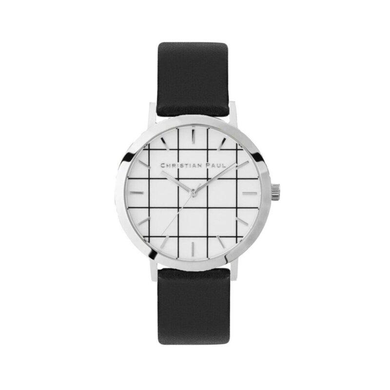 """שעון לנשים """"גריד אלווד"""" בצבע כסף עם רקע לבן משבצות ורצועה מעור בצבע שחור"""