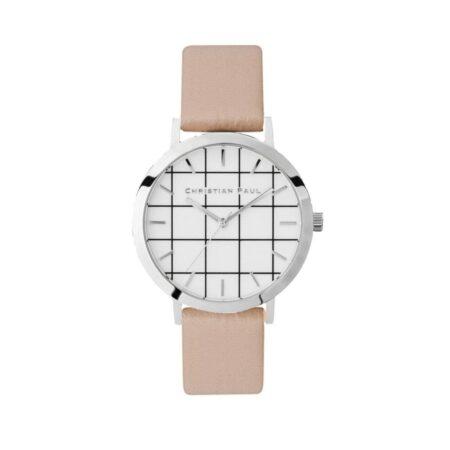 """שעון לנשים """"גריד איירלי"""" בצבע כסף עם רקע לבן משבצות ורצועה מעור בצבע ורוד כהה"""